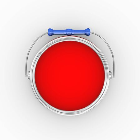 paintbucket: 3d illustration of topiew of open red paint bucket can on white background
