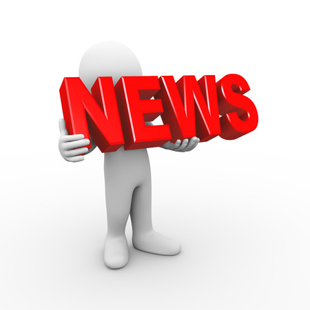 newsgroup: 3d illustration of man holding word text news.  3d rendering of human people character
