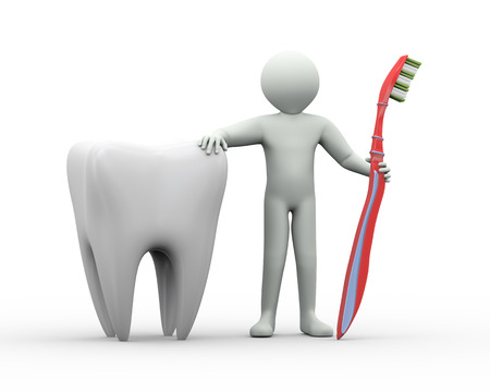 3d illustration of man standing with tooth and toothbrush. 3d rendering of human people character illustration