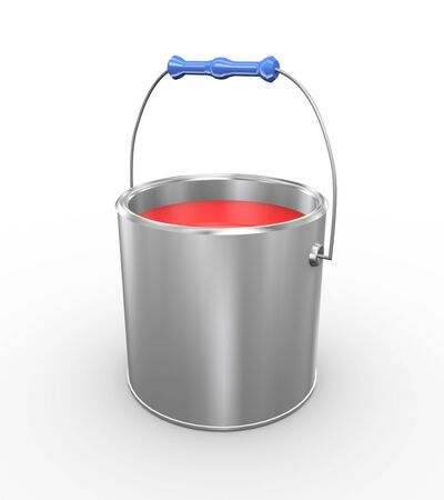 3d illustration of open red paint bucket can on white background