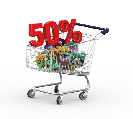 sell off: 3d illustration of 50 percent in  metal shopping cart trolley Stock Photo