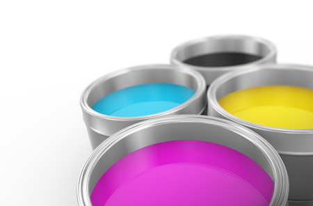 3d illustration of printing color cmyk cyan, magenta, yellow, and key(black) paint bucket cans