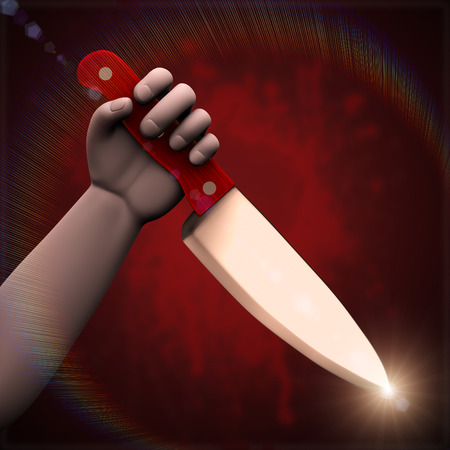 stab: 3d illustration of hand holding large knife ready to stab on bloody spot splash red dark background Stock Photo
