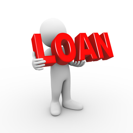 owe: 3d illustration of man holding word text loan. 3d rendering of human people character