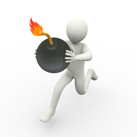 3d illustration of man running with a bomb.  3d rendering of human people character. illustration