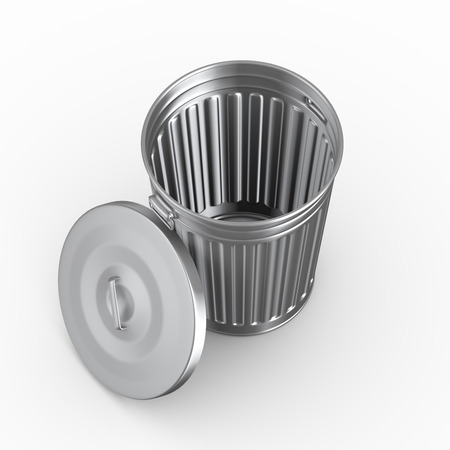 scrapheap: 3d illustration of topview of an empty steel shiny metal trash can bin with cover Stock Photo