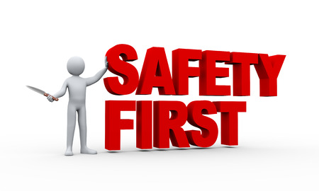 work safety: 3d illustration of man holding knife and standing with word text safety first.  3d rendering of human people character