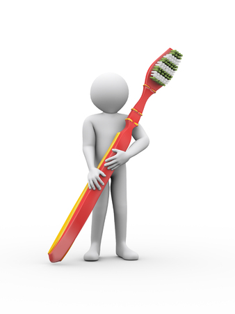 3d illustration of man holding a large toothbrush. 3d rendering of human people character illustration