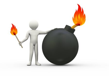 3d illustration of man lighting the bomb wick.  3d rendering of human people character illustration