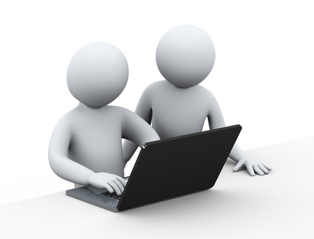 3d illustration of business people working together with laptop. 3d rendering of human people character