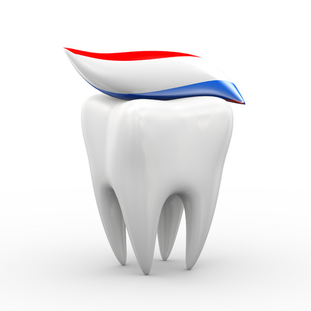 whitening: 3d illustration of tooth covered with toothpaste