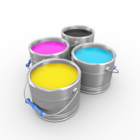 paintbucket: 3d illustration of four printing color cmyk cyan, magenta, yellow, and key(black) paint bucket cans. Stock Photo