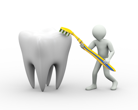 fluoride toothpaste: 3d illustration of man cleaning and brushing a large tooth with toothbrush. 3d rendering of human people character Stock Photo