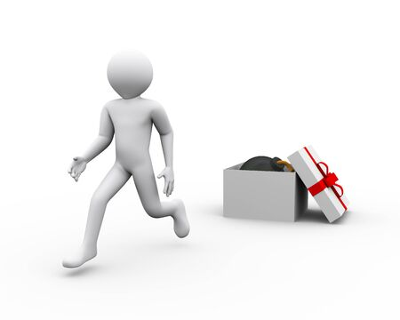 3d illustration of man running and escaping after discovering bomb in gift box. 3d rendering of human people character illustration