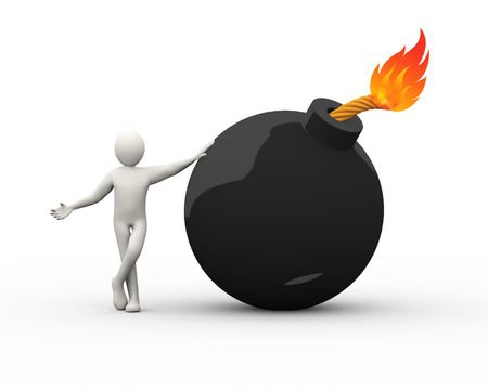 3d illustration of man standing with blasting bomb.  3d rendering of human people character illustration