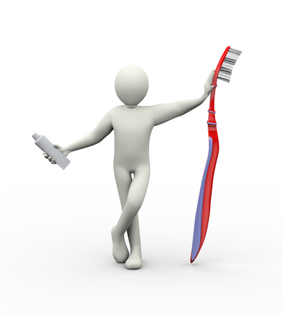 3d illustration of man standing with large toothbrush holding toothpaste tube. 3d rendering of human people character illustration