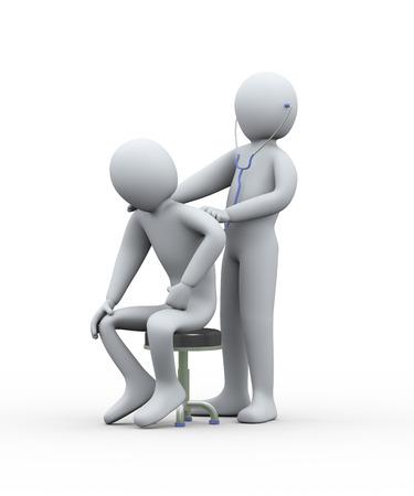cough: 3d ilustración de examen del doctor de hombre con el estetoscopio. Representación 3D de hombre - carácter de personas Foto de archivo