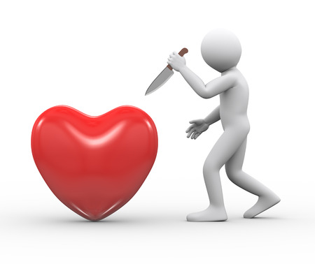 violate: 3d illustration of man holding large knife ready to attack and stab red big heart.  3d rendering of human people character