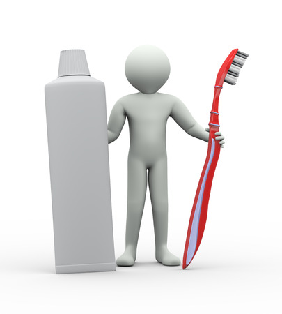 toothpaste tube: 3d illustration of man standing with toothbrush and toothpaste tube. 3d rendering of human people character
