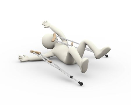 therapist: 3d illustration of disabled man with crutches fall accident.  3d rendering of human people character