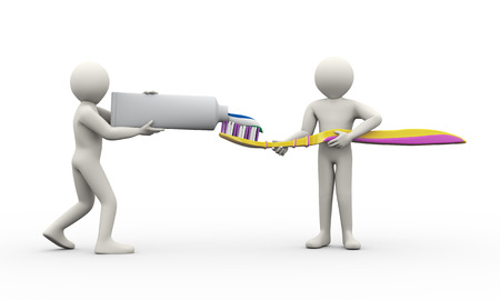 fluoride: 3d illustration of people working together to press out toothpaste from tube to covered toothbrush. 3d rendering of human man people character