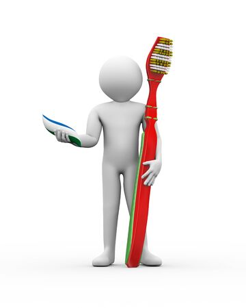 fluoride toothpaste: 3d illustration of man holding toothpaste and toothbrush. 3d rendering of human people character Stock Photo