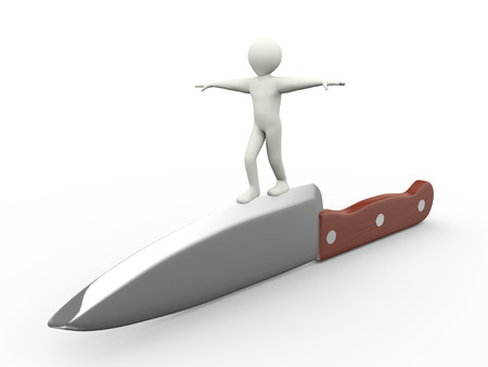at the edge of: 3d illustration of man walking on edge of large knife balancing himself.  3d rendering of human people character