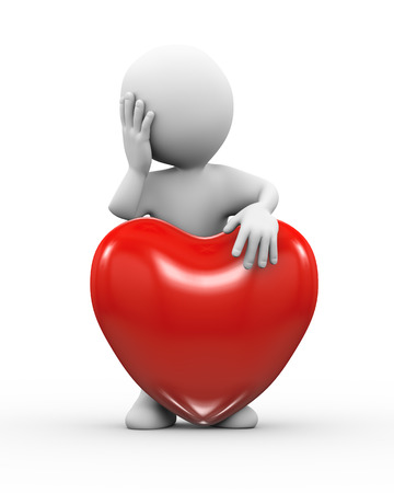 broken trust: 3d illustration of sad lover man standing with heart.  3d rendering of human people character