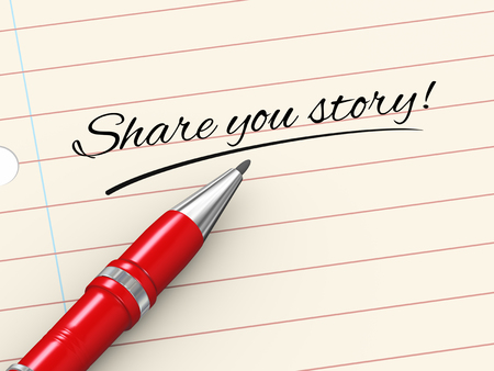 tell stories: 3d render of pen on paper written share your story Stock Photo