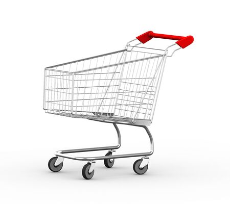mart: 3d illustration of empty metal shopping cart trolley.