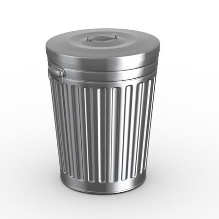 wastepaper basket: 3d illustration of closed steel shiny metal trash can bin white background