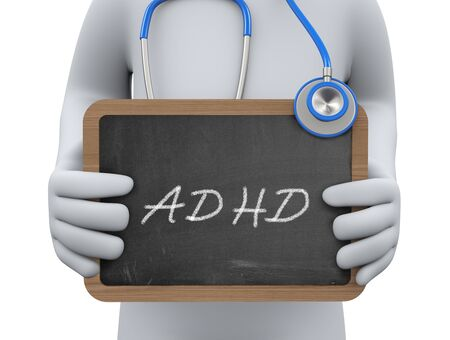 adhd: 3d illustration physician holding adhd chalkboard.  3d rendering of man human people person character.