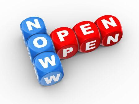 crossword: 3d illustration of crossword dices of text word now open Stock Photo