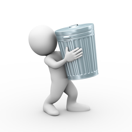 wastepaper basket: 3d illustration of man carrying filled closed shiny metal trash can bin.  3d rendering of human people character