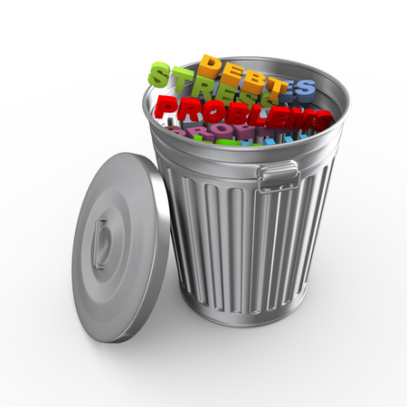 garbage collection: 3d illustration of trash can bin fill with problem, stress, debt word