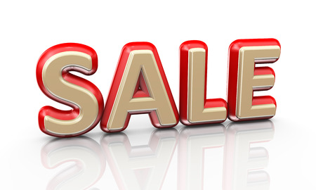 reflective: 3d illustration of word text sale on reflective background