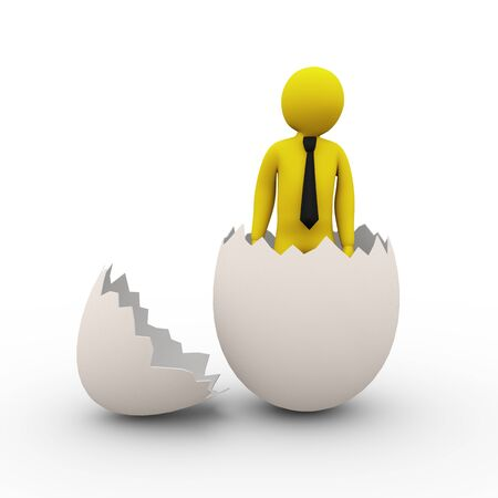 broken egg: 3d illustration of man inside cracked broken egg presentation of businessman birth Stock Photo