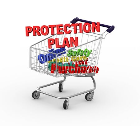 secure shopping: 3d illustration of text protection plan in shopping cart trolley