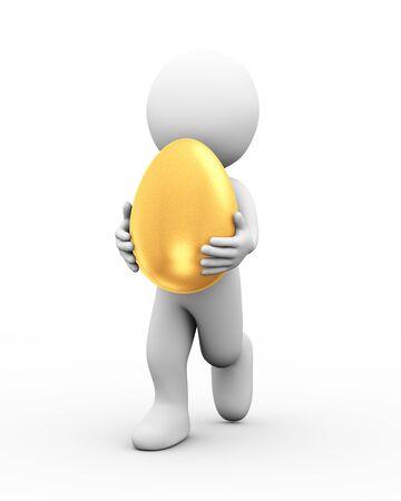 3d illustration of man carrying large shiny golden egg Stock Photo