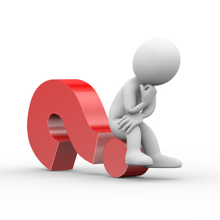 3d illustration of thinking man sitting on question mark