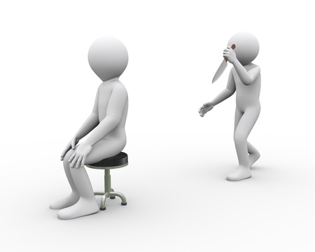 3d illustration of killer man with knife attacking another sitting person Stock Photo