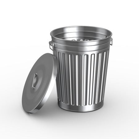 3d illustration of steel shiny metal trash can bin with cover on white background