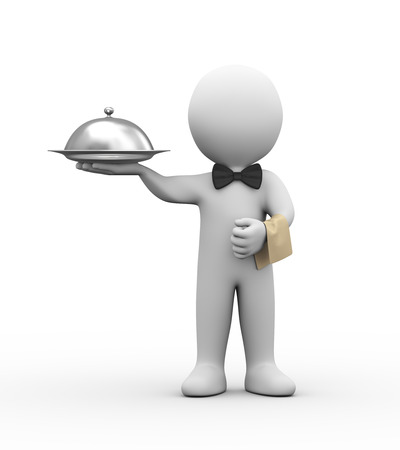 3d illustration of professional waiter holding covered dish Standard-Bild