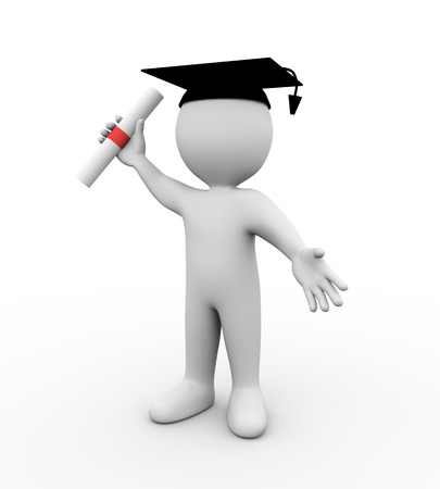 3d illustration of student wearing graduation attire and holding diploma certificate.  3d rendering of human people character