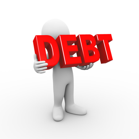 owe: 3d illustration of man holding word text debt. 3d rendering of human people character Stock Photo