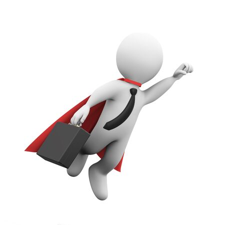 cloak: 3d illustration of brave  super hero with red cloak and briefcase flying. 3d rendering of white man person people character