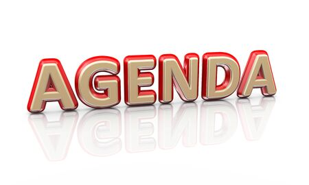 signup: 3d illustration of word text agenda on reflective background