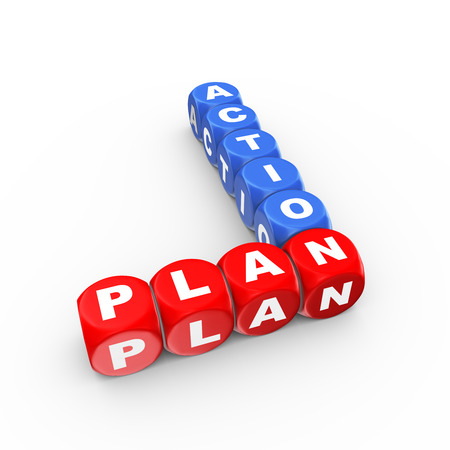 take action: 3d illustration of crossword action plan Stock Photo