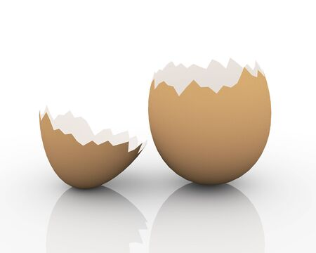ailment: 3d illustration of empty broken cracked egg shell