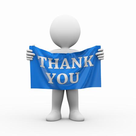 blanco: 3d ilustración del hombre que sostiene la bandera paño de texto la palabra gracias. Representación 3D de carácter humano personas